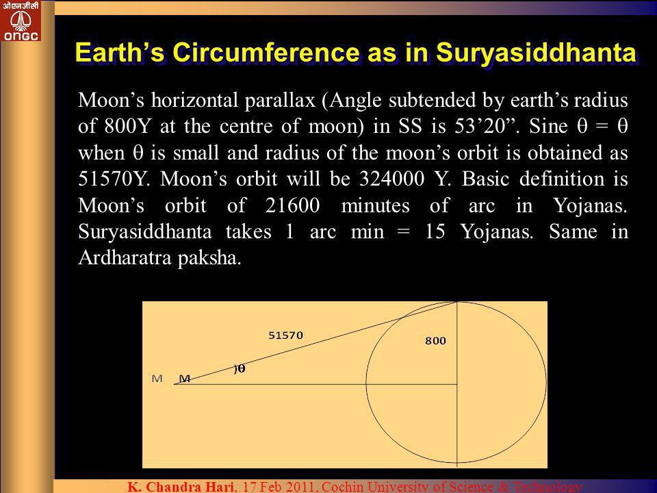 Earth's Circumference as in Suryasiddhanta