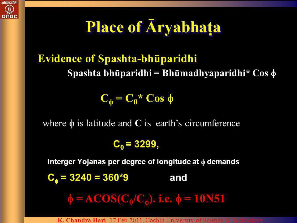 Place of Āryabhata Evidence of Spashta-bhūparidhi