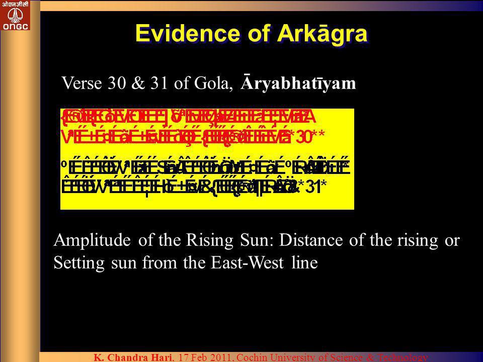 Evidence of Arkāgra Verse 30 & 31 of Gola, Āryabhatīyam