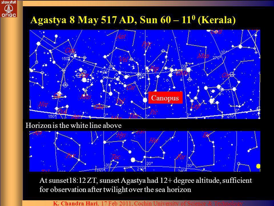 Agastya 8 May 517 AD, Sun 60 – 110 (Kerala)