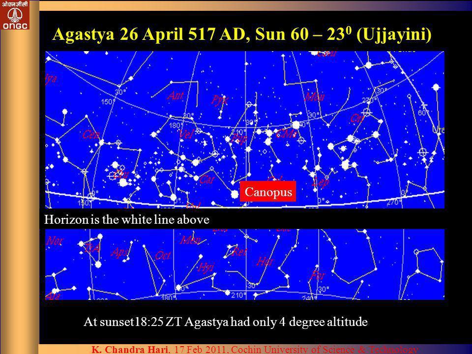 Agastya 26 April 517 AD, Sun 60 – 230 (Ujjayini)