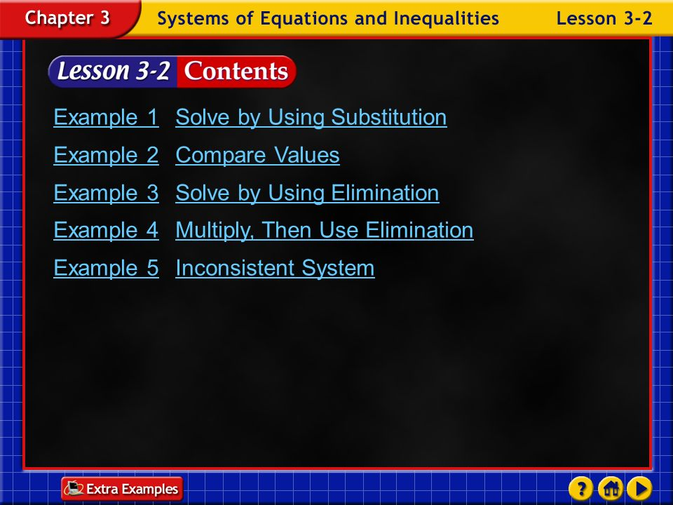 Example 1 Solve by Using Substitution Example 2 Compare Values