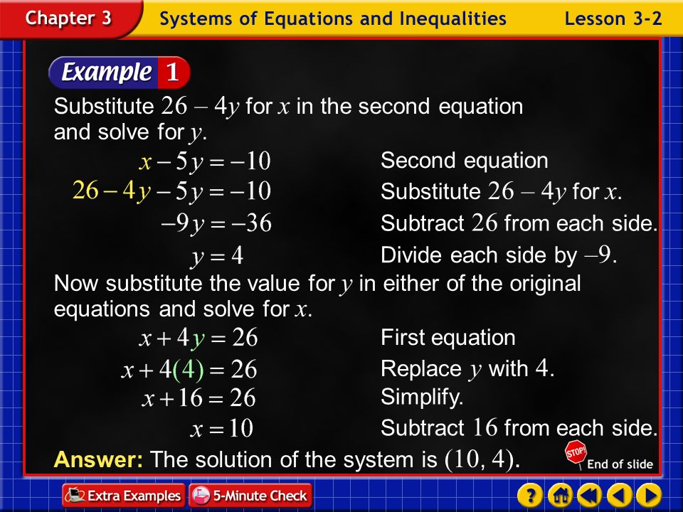 Substitute 26 – 4y for x in the second equation and solve for y.