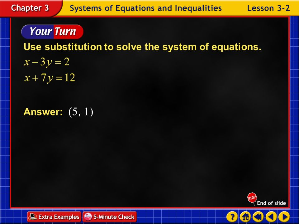 Use substitution to solve the system of equations.