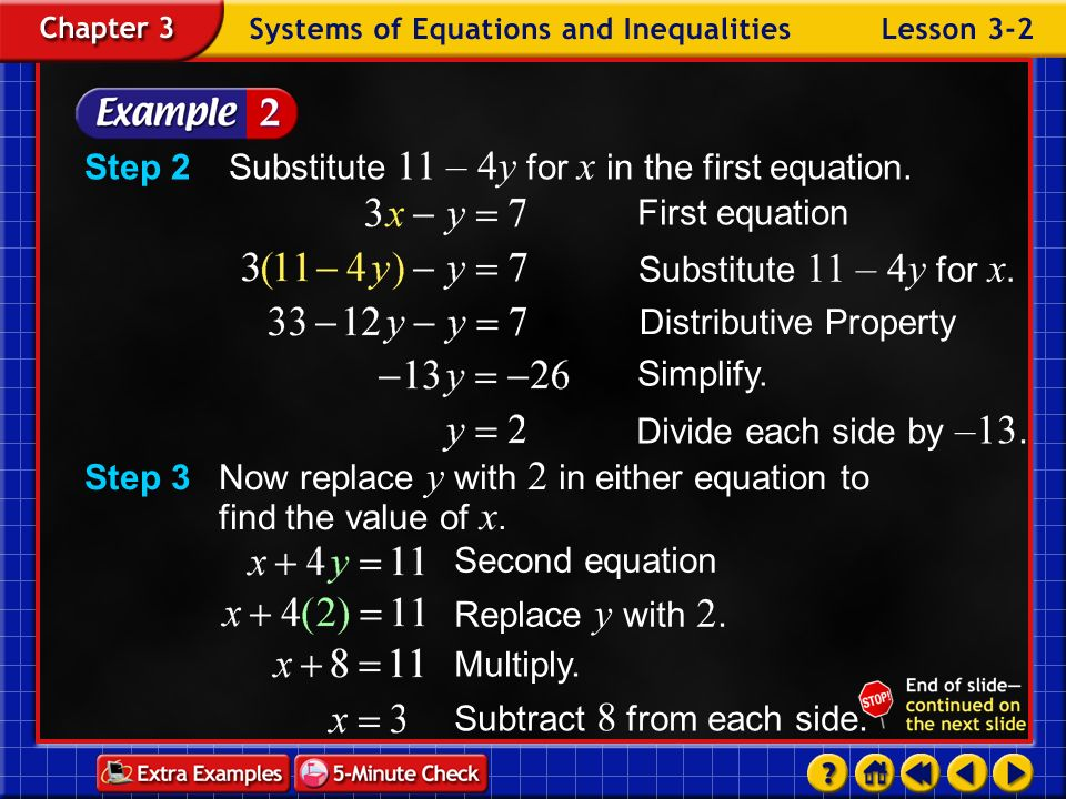 Step 2 Substitute 11 – 4y for x in the first equation. First equation