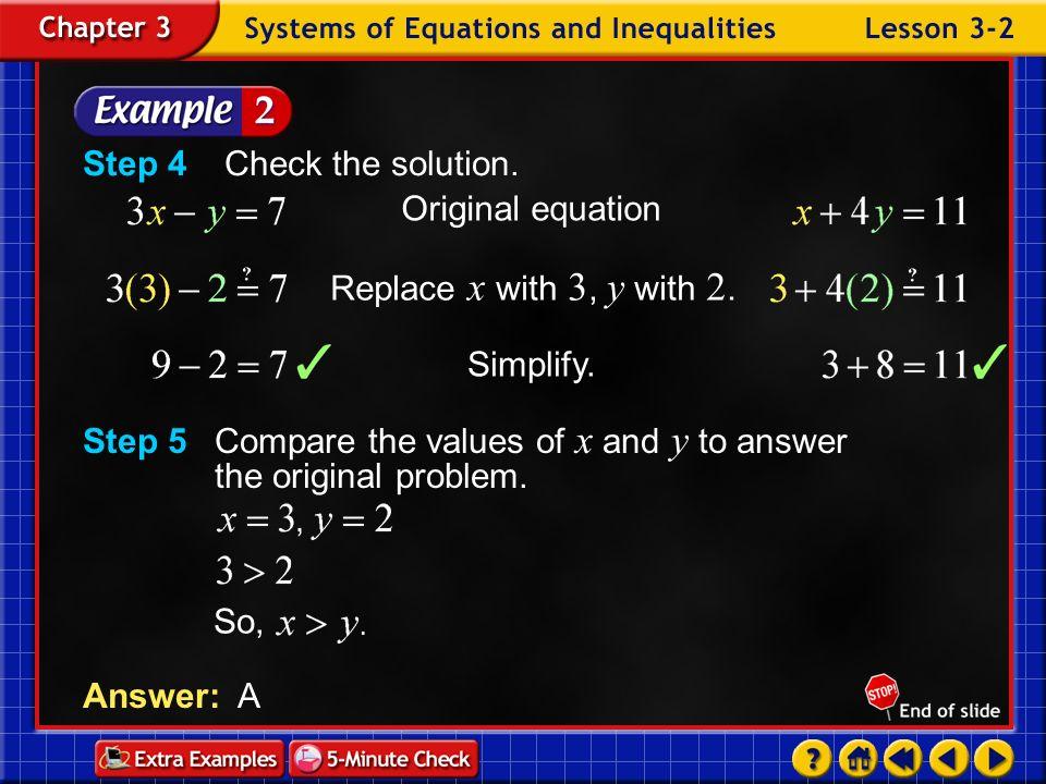 Step 4 Check the solution. Original equation