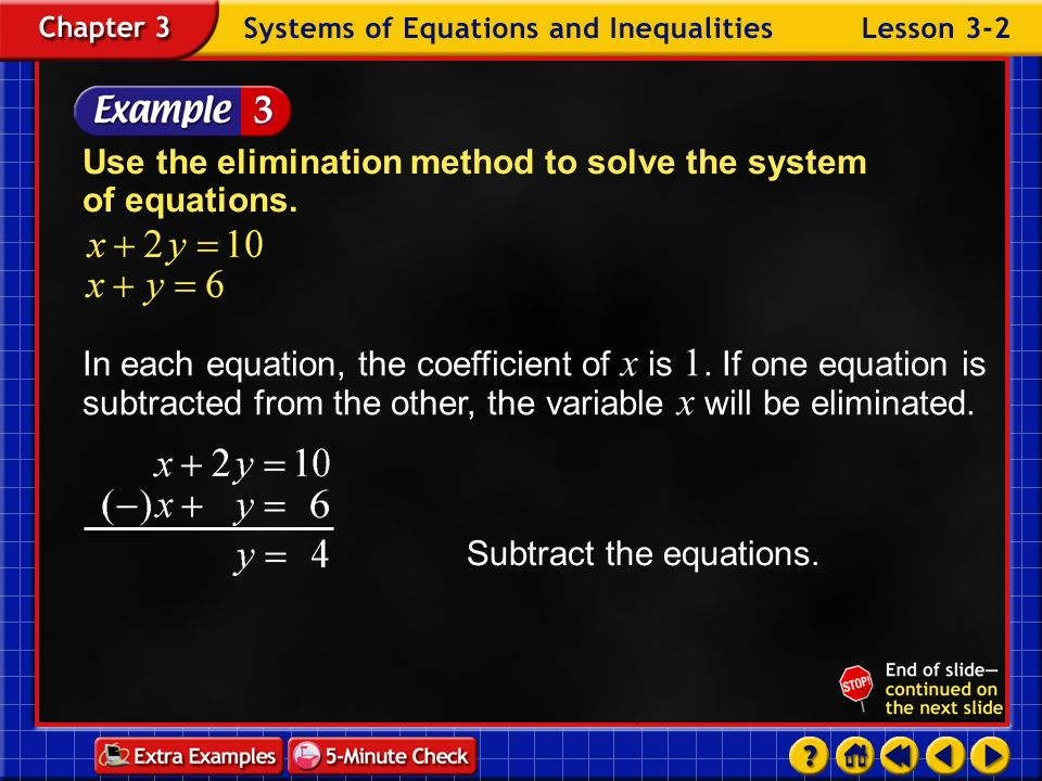 Use the elimination method to solve the system of equations.