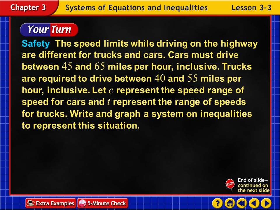 Safety The speed limits while driving on the highway are different for trucks and cars. Cars must drive between 45 and 65 miles per hour, inclusive. Trucks are required to drive between 40 and 55 miles per hour, inclusive. Let c represent the speed range of speed for cars and t represent the range of speeds for trucks. Write and graph a system on inequalities to represent this situation.