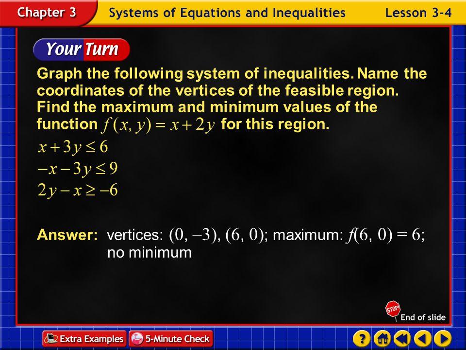 Answer: vertices: (0, –3), (6, 0); maximum: f(6, 0) = 6; no minimum