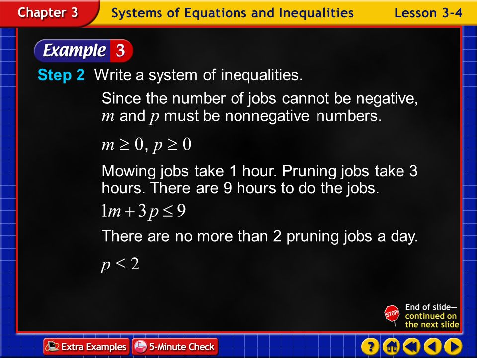 m  0, p  0 p  2 Step 2 Write a system of inequalities.