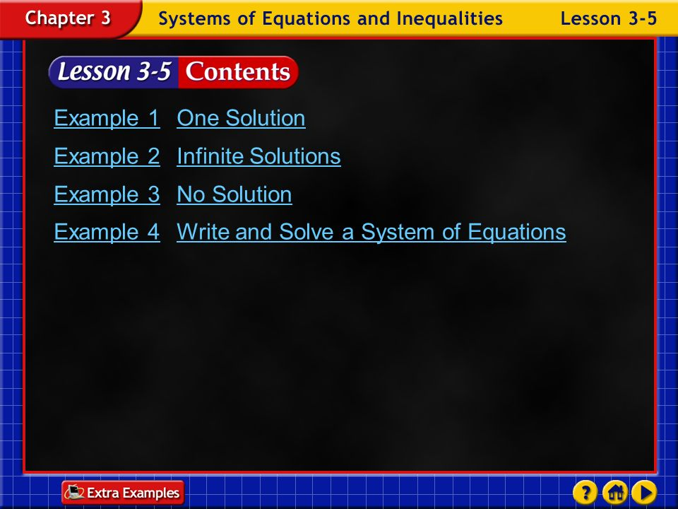 Example 2 Infinite Solutions Example 3 No Solution