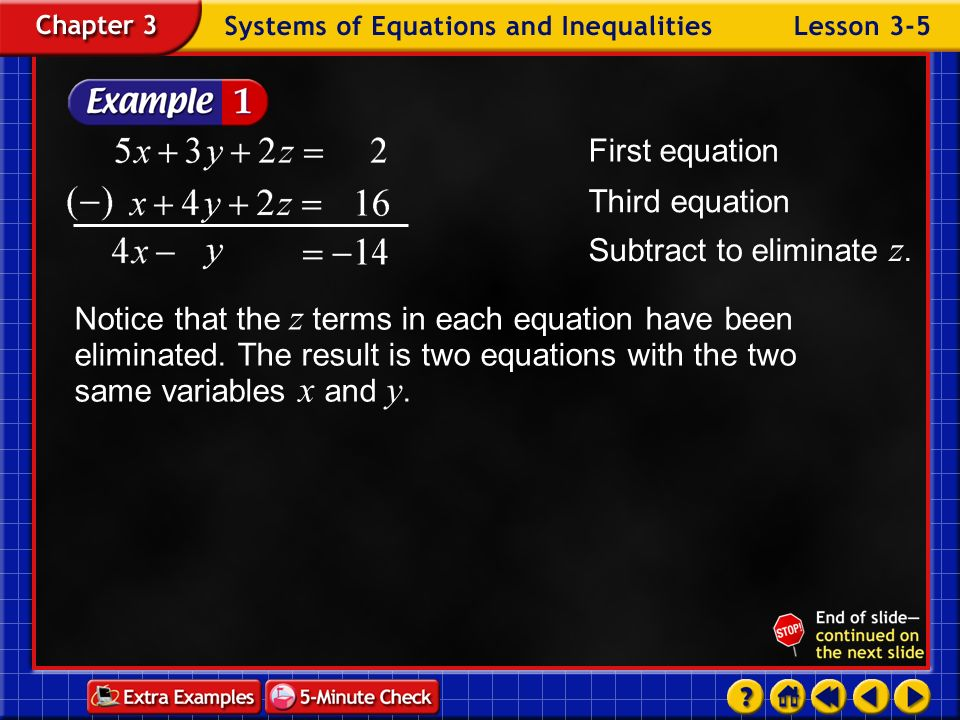 Subtract to eliminate z.