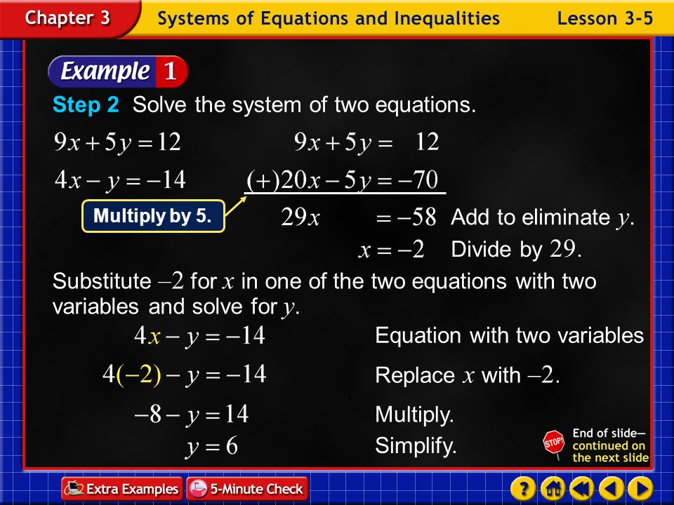 Step 2 Solve the system of two equations.