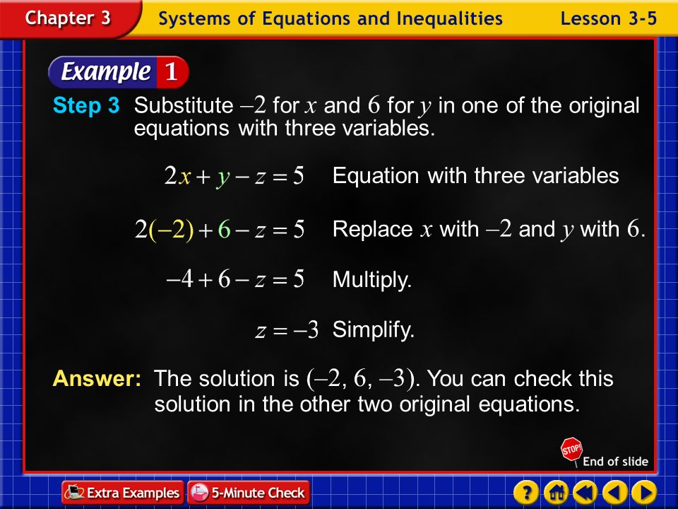 Equation with three variables