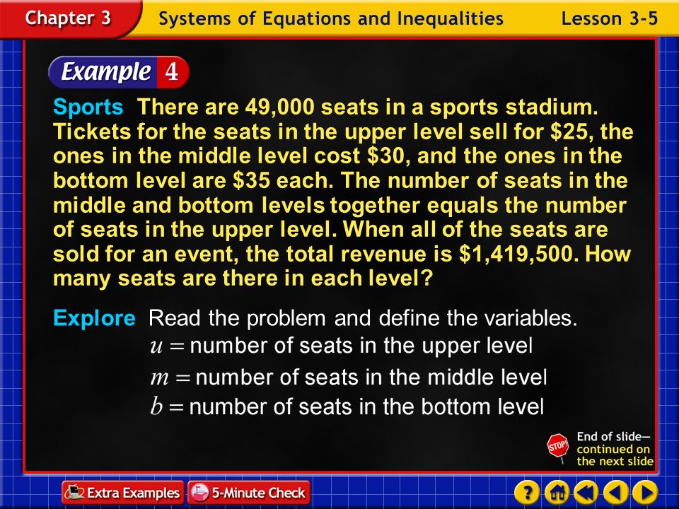 Explore Read the problem and define the variables.