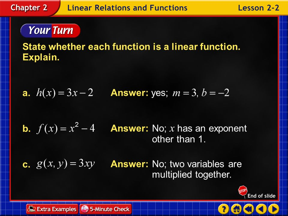 State whether each function is a linear function. Explain.
