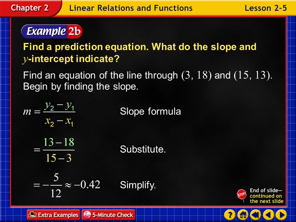 Find a prediction equation. What do the slope and y-intercept indicate