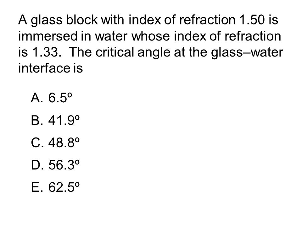 A glass block with index of refraction 1