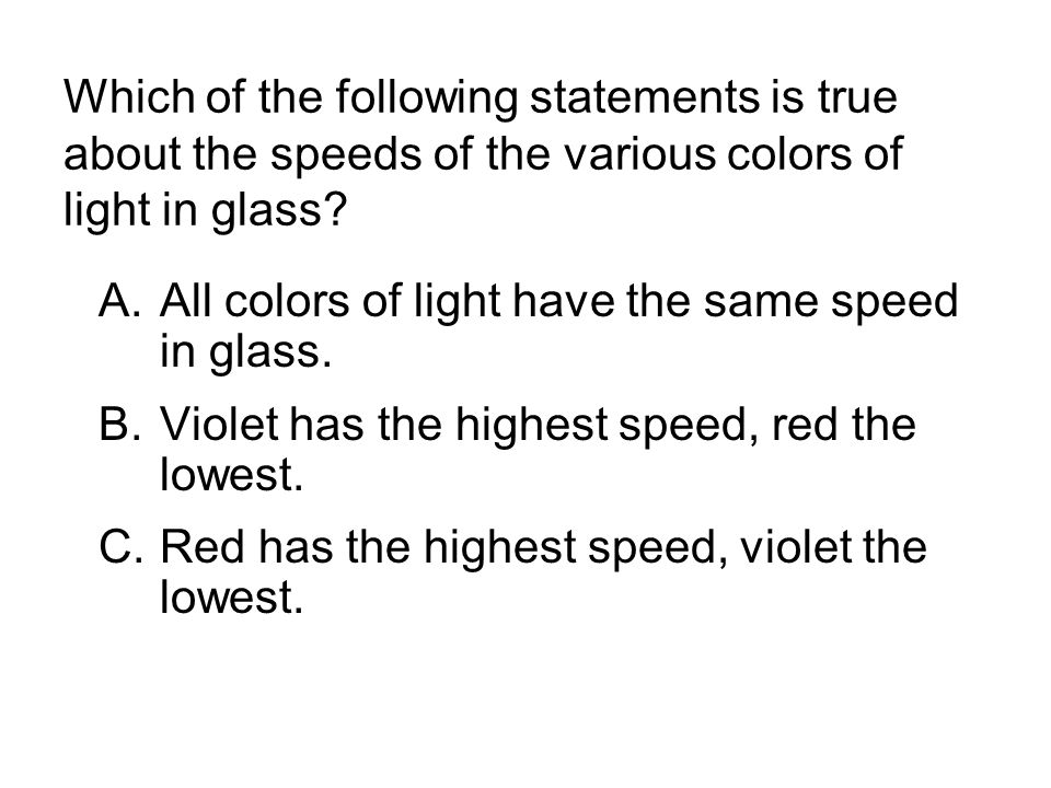 Which of the following statements is true about the speeds of the various colors of light in glass