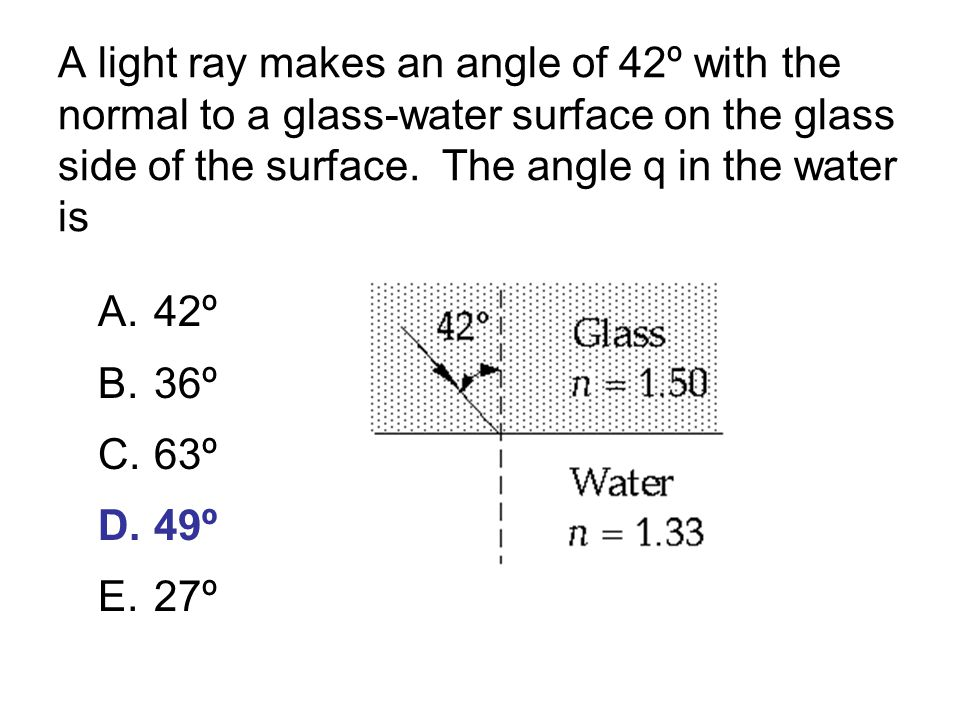 A light ray makes an angle of 42º with the normal to a glass-water surface on the glass side of the surface. The angle q in the water is