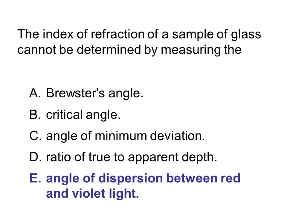 The index of refraction of a sample of glass cannot be determined by measuring the
