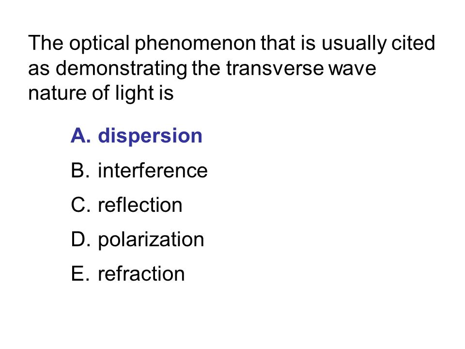 The optical phenomenon that is usually cited as demonstrating the transverse wave nature of light is