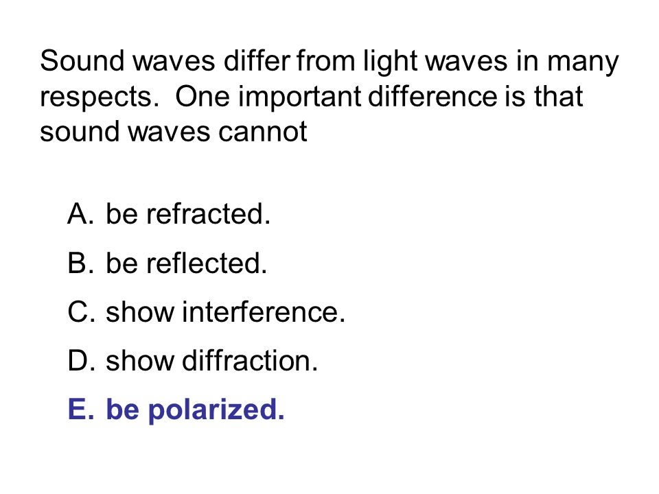 Sound waves differ from light waves in many respects