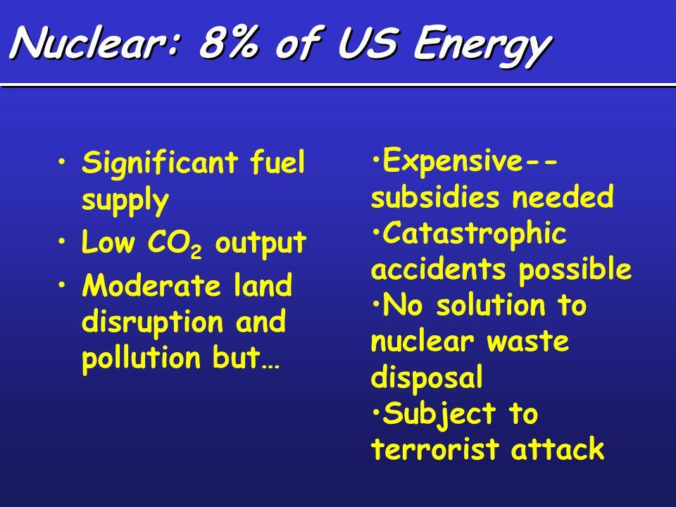 Nuclear: 8% of US Energy Significant fuel supply