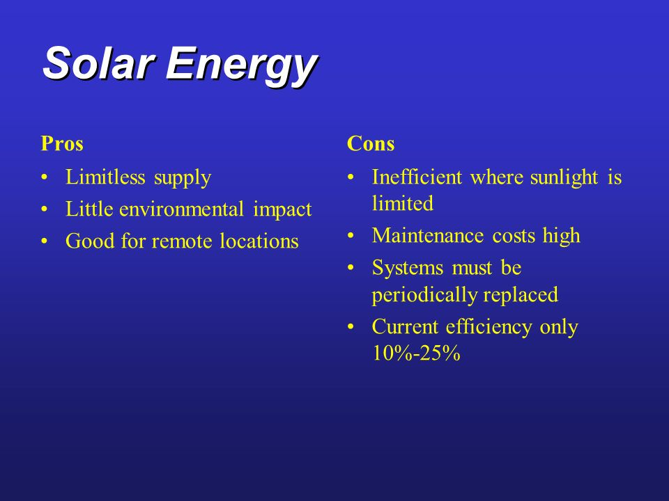 Solar Energy Pros Cons Limitless supply Little environmental impact