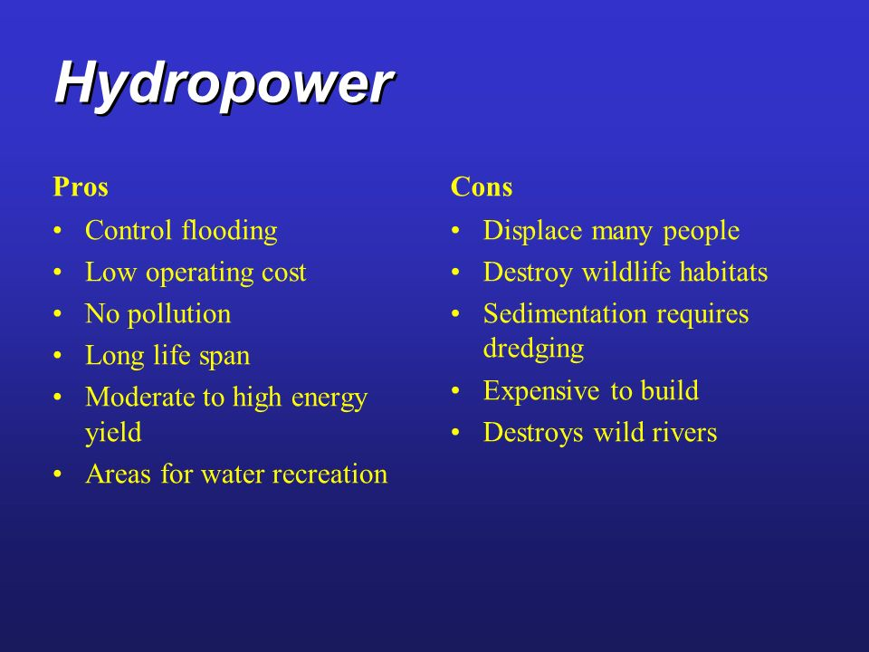 Hydropower Pros Cons Control flooding Low operating cost No pollution