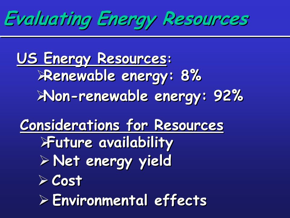 Evaluating Energy Resources