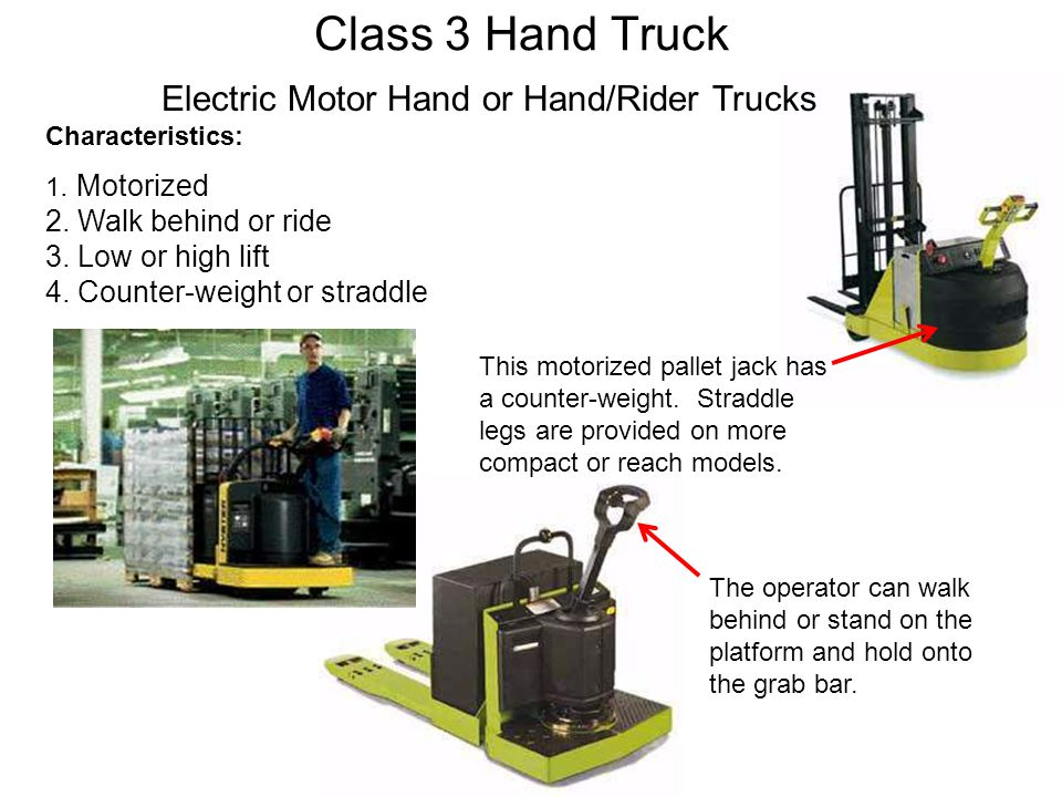 Class 3 Hand Truck Electric Motor Hand or Hand/Rider Trucks