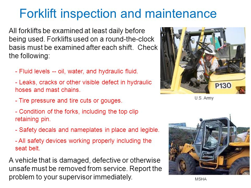 Forklift inspection and maintenance