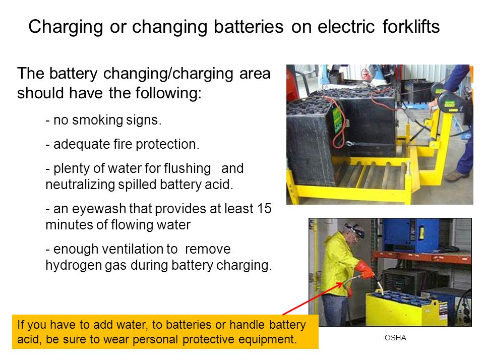 Charging or changing batteries on electric forklifts