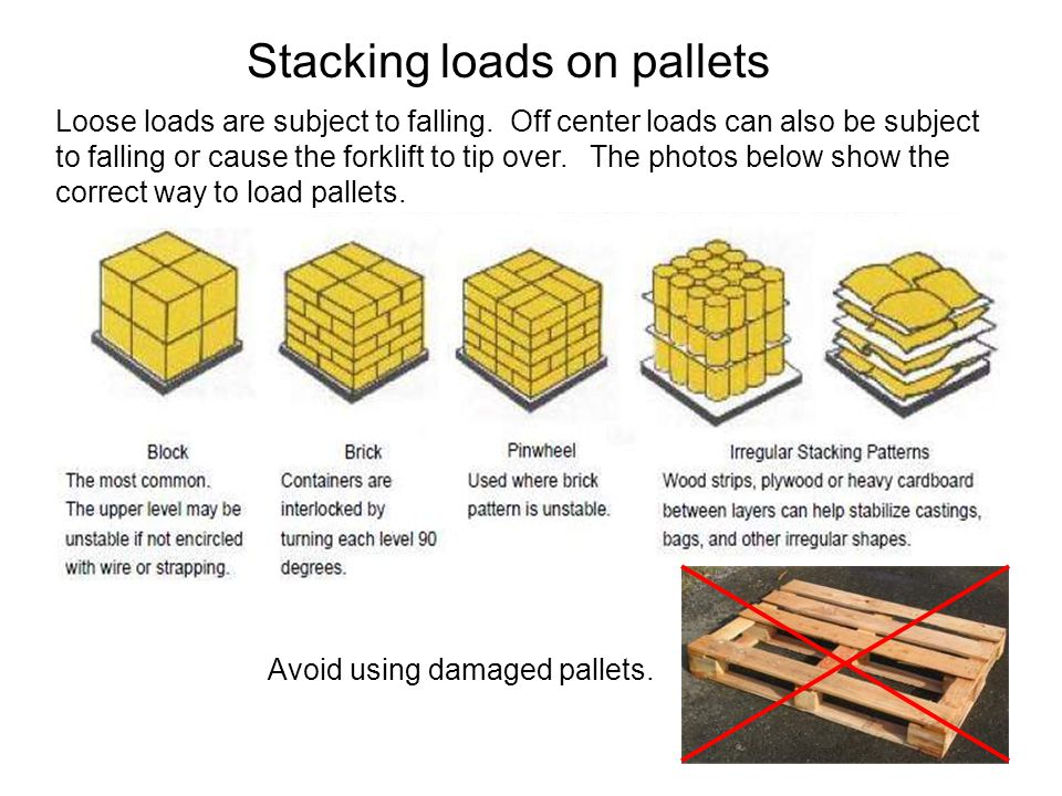 Stacking loads on pallets