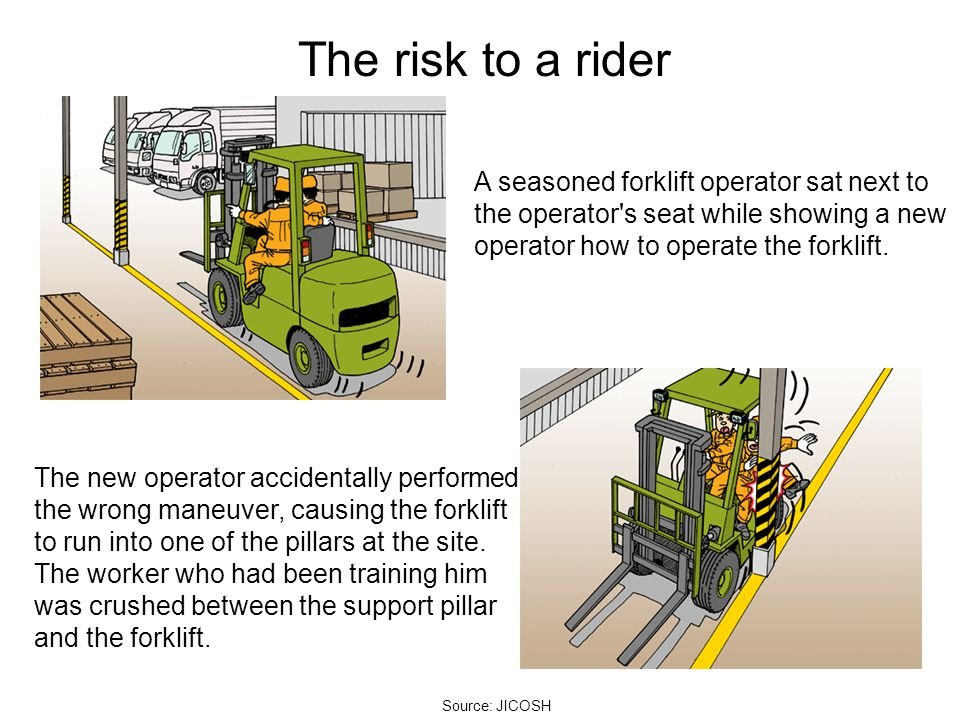 The risk to a rider A seasoned forklift operator sat next to the operator s seat while showing a new operator how to operate the forklift.