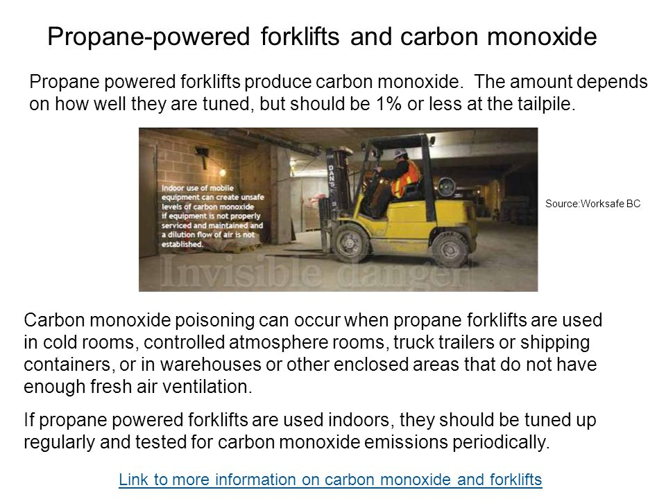 Propane-powered forklifts and carbon monoxide