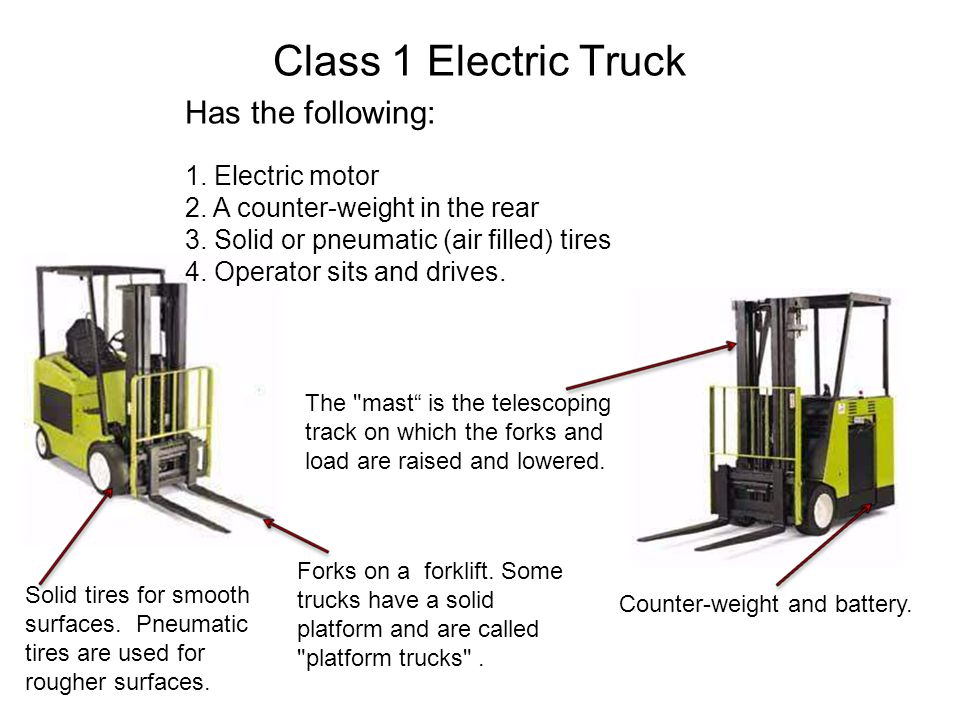 Class 1 Electric Truck Has the following: 1. Electric motor