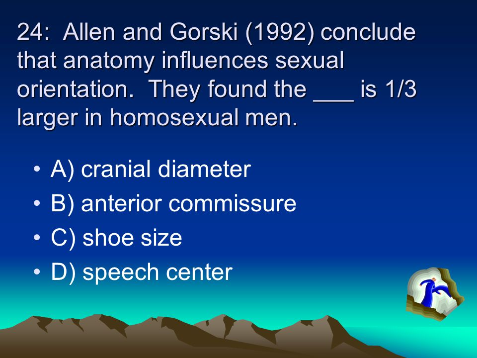 24: Allen and Gorski (1992) conclude that anatomy influences sexual orientation. They found the ___ is 1/3 larger in homosexual men.