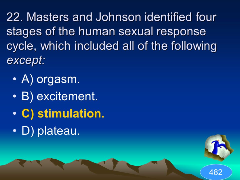 22. Masters and Johnson identified four stages of the human sexual response cycle, which included all of the following except: