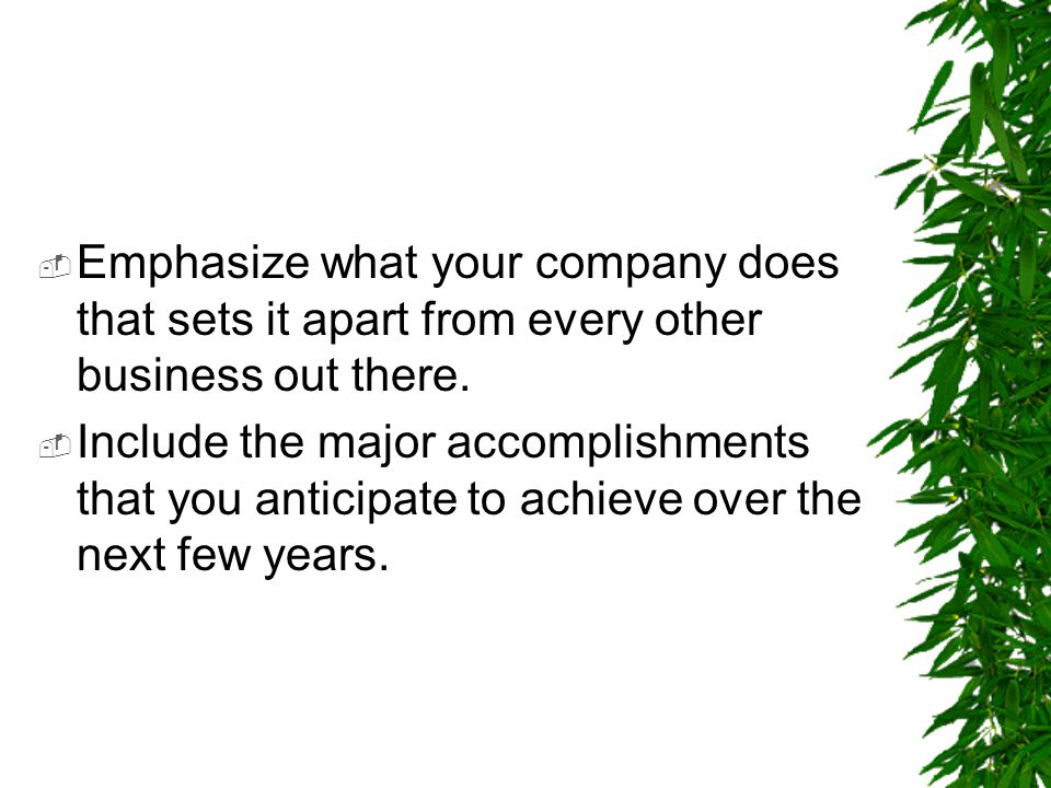 Emphasize what your company does that sets it apart from every other business out there.