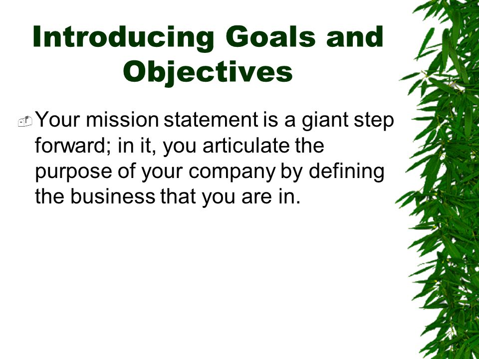 Introducing Goals and Objectives