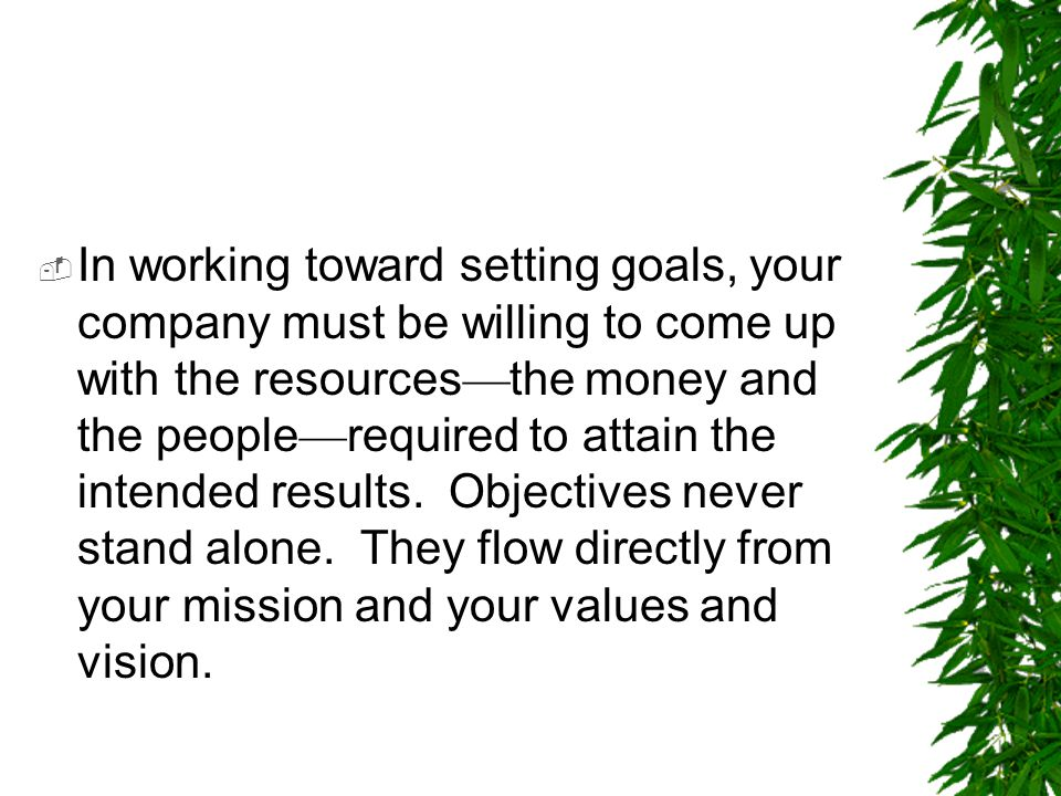 In working toward setting goals, your company must be willing to come up with the resources—the money and the people—required to attain the intended results.