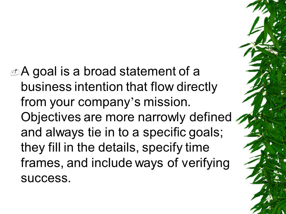 A goal is a broad statement of a business intention that flow directly from your company's mission.