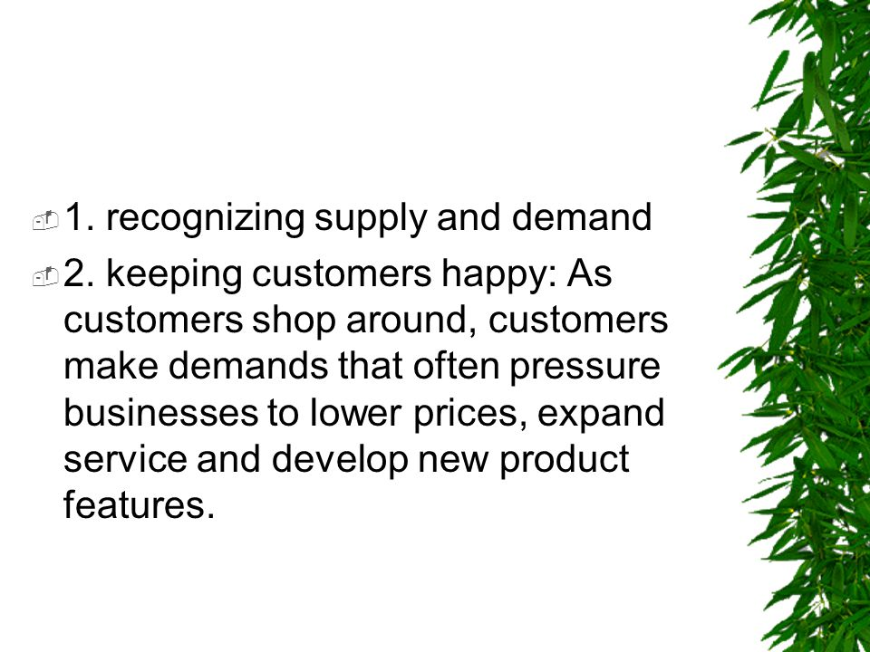 1. recognizing supply and demand