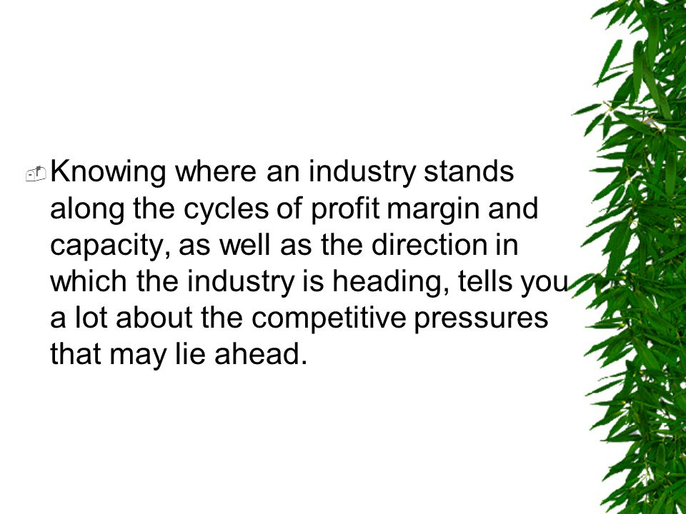 Knowing where an industry stands along the cycles of profit margin and capacity, as well as the direction in which the industry is heading, tells you a lot about the competitive pressures that may lie ahead.