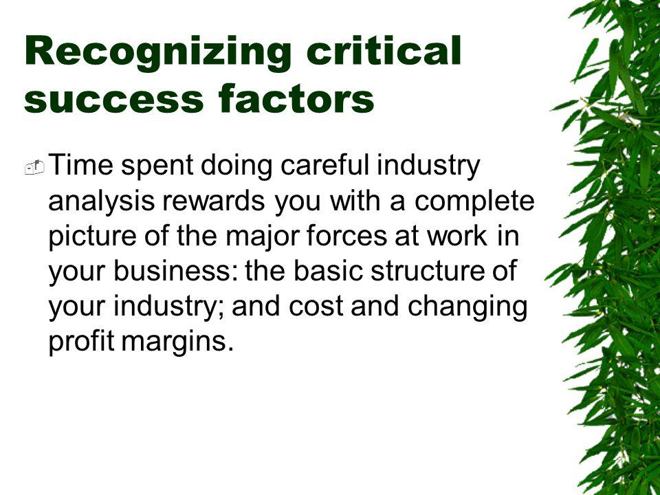 Recognizing critical success factors