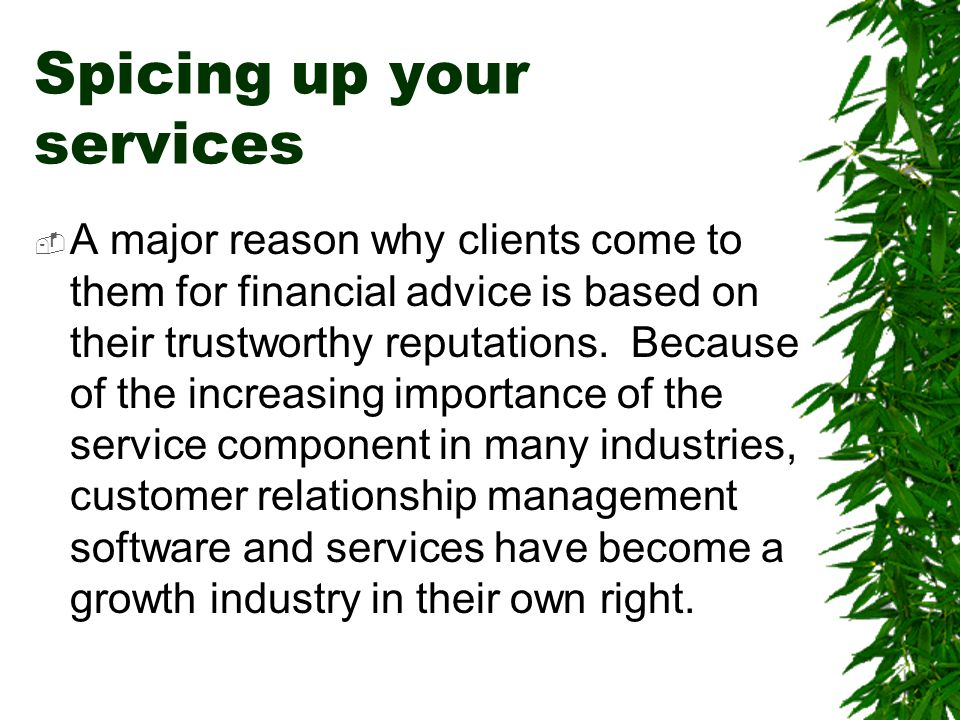 Spicing up your services