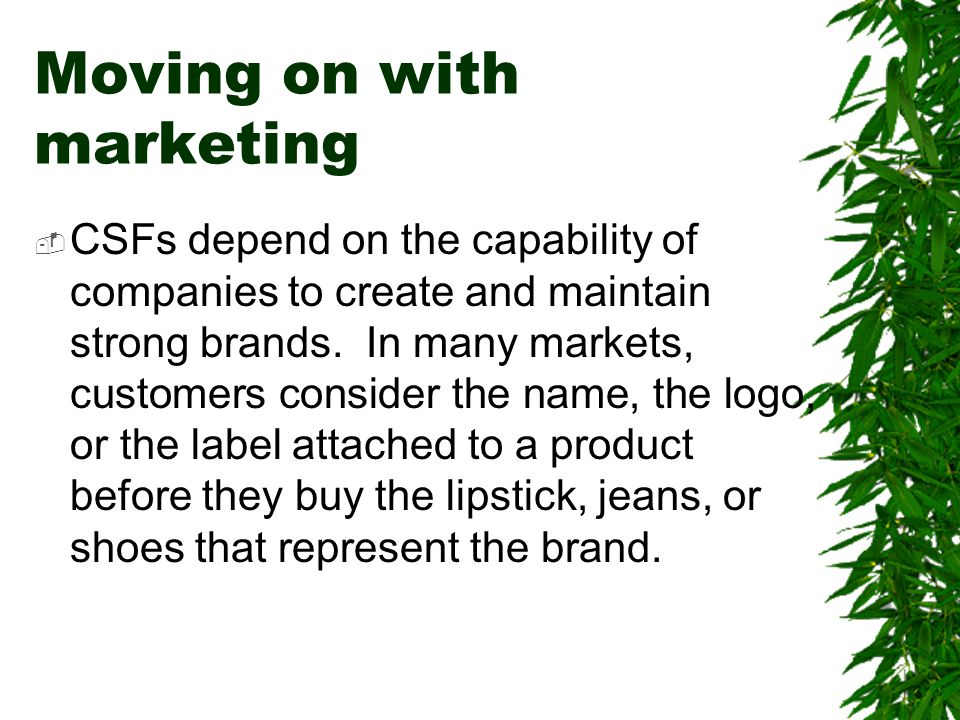 Moving on with marketing