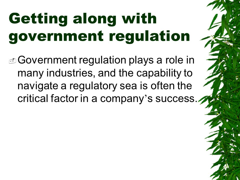 Getting along with government regulation